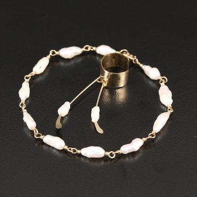10K Pearl Ear Cuff and 14K Pearl Bracelet
