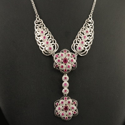 Sterling Silver Ruby and Cubic Zirconia Floral Drop Necklace