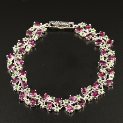 Sterling Silver Rhodolite Garnet and Diopside Foliate Bracelet