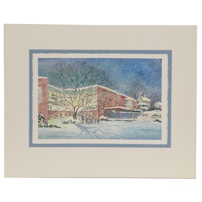 "Wanda Prillaman Watercolor Painting ""Caroling Blue Ridge Regional Library"", 1987"