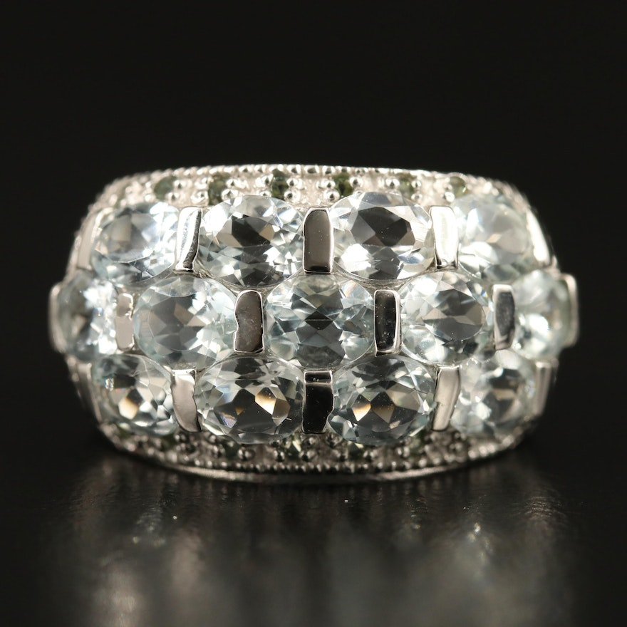 Sterling Silver Aquamarine and Sapphire Cluster Ring