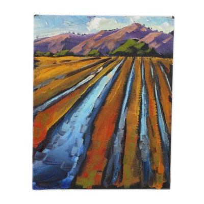 William Hawkins Oil Painting of Mountains and Fields