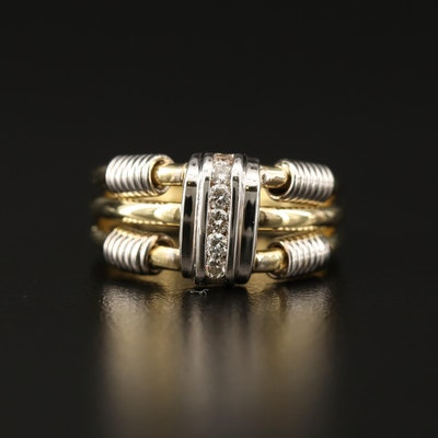 18K Channel Set Diamond Ring with Cable Style Accents