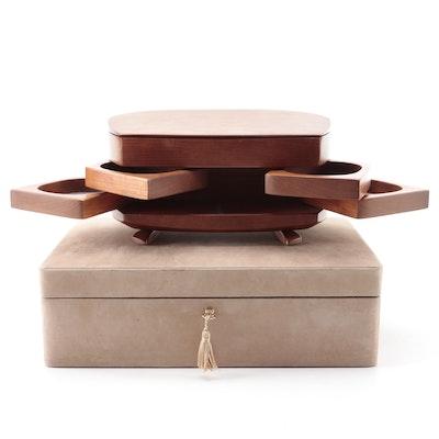 Kellams Stacked Cherry Jewelry Chest, with Italian Suede and Walnut Jewelry Box