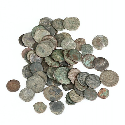 Sixty-Two Ancient Roman Imperial Bronze Coins, ca. 200-400 A.D.