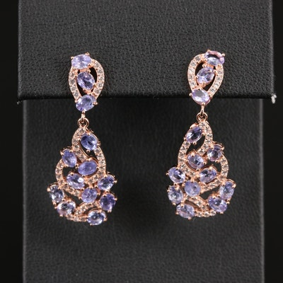 Sterling Tanzanite and Cubic Zirconia Dangle Earrings