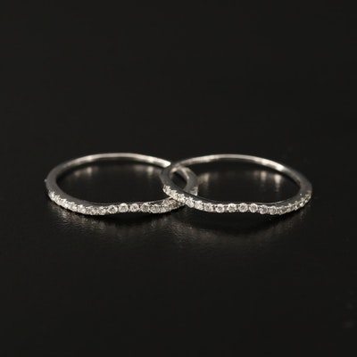 Matched Pair of 14K Diamond Contour Bands