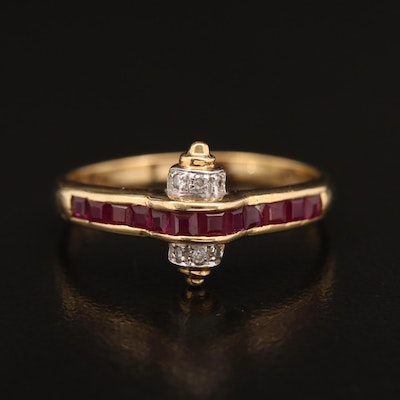 18K Ruby and Diamond Ring with Scroll Accents