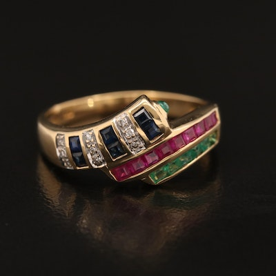 18K Emerald, Sapphire, Ruby and Diamond Bypass Ring