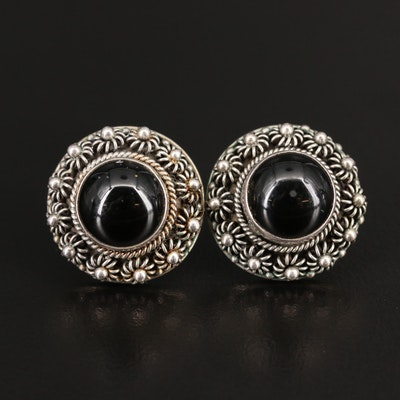 Sterling Silver Beaded Black Onyx  Earrings