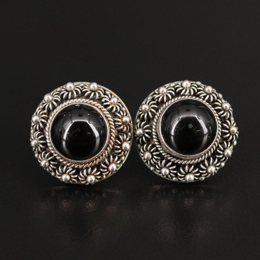 Sterling Silver Beaded Black Onyx  Earrings