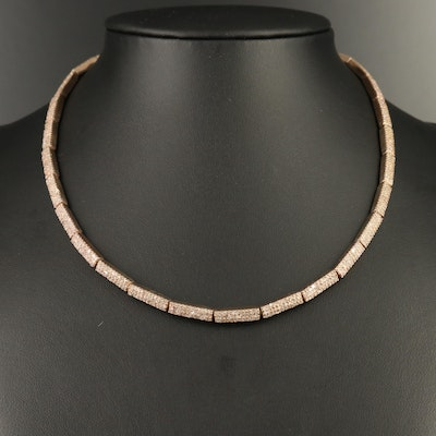 Sterling Silver Diamond Link Necklace