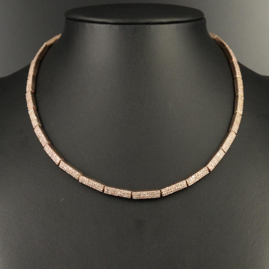 Sterling Silver Diamond Link Necklace