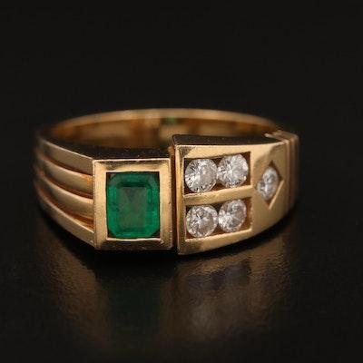 18K Emerald and Diamond Asymetrical Band