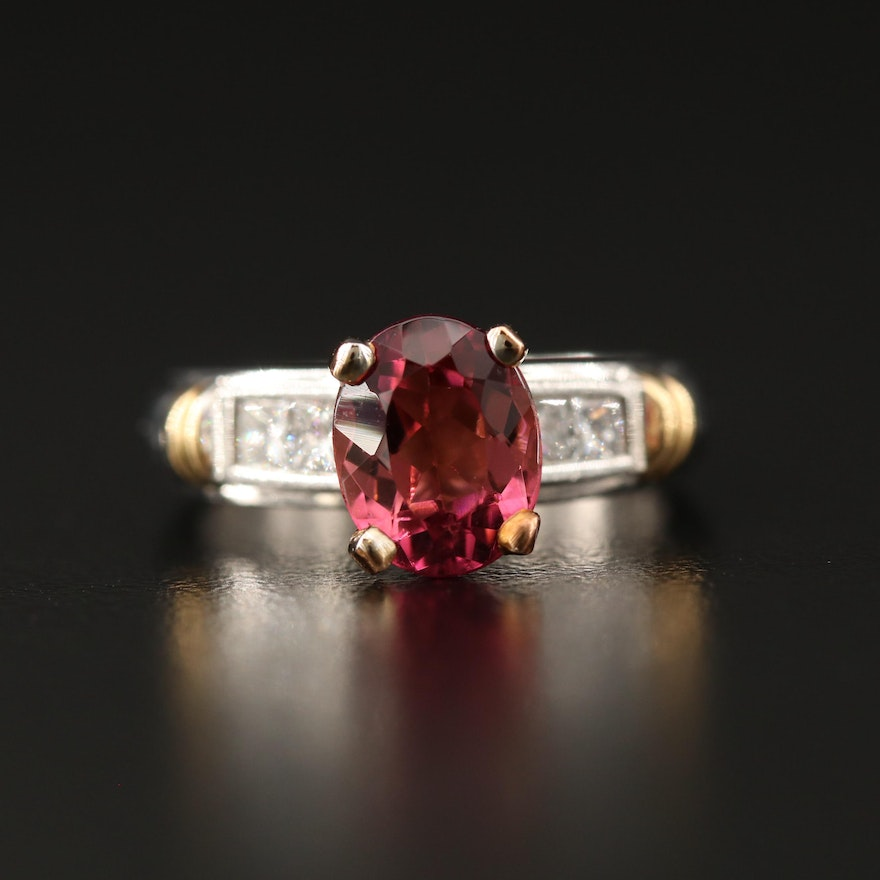Platinum and 18K Tourmaline and Diamond Ring with 14K Accent