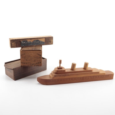 Bench Made Wooden Ship, Boxes with Slide Tops