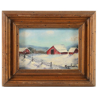Winter Landscape Oil Painting of Barns