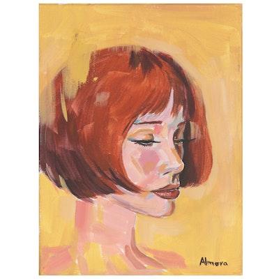 Osmel Almora Acrylic Painting of Portrait, 21st Century