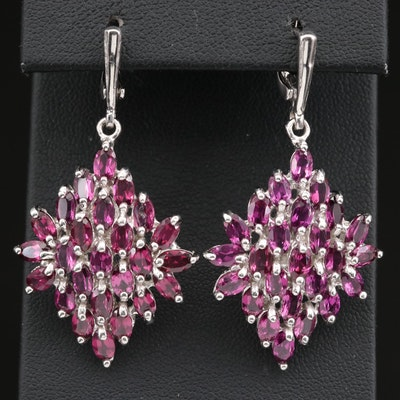 Sterling Silver Rhodolite Garnet Dangle Earrings