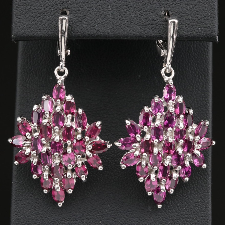 Sterling Silver Rhodolite Garnet Dangle Earrings