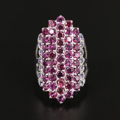 Sterling Silver Rhodolite Garnet and Tanzanite Navette Ring