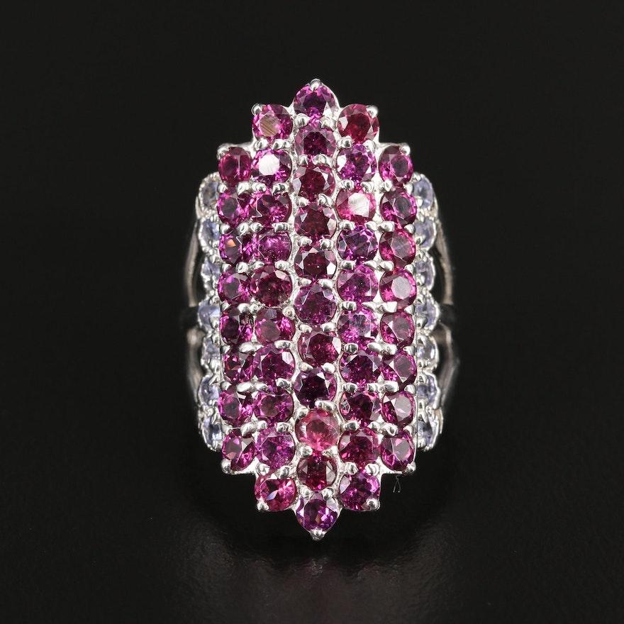 Sterling Silver Rhodolite Garnet and Tanzanite Navette Ring