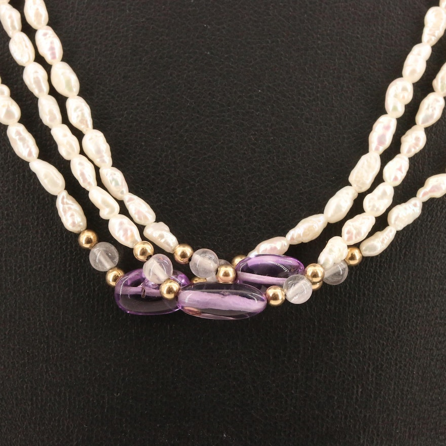 Multi-Strand Pearl, Rose Quartz and Amethyst Station Necklace with 14K Clasp