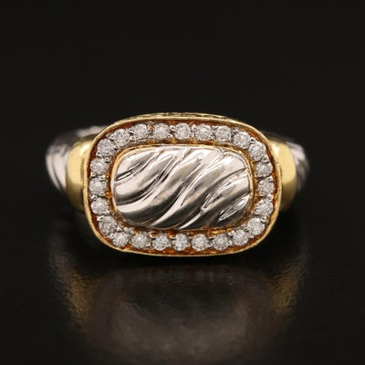 18K Diamond Cable Motif Ring