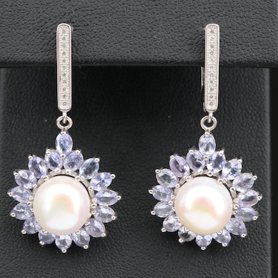 Sterling Silver Pearl and Tanzanite Dangle Earrings