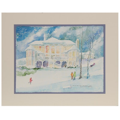 "Wanda Prillaman Watercolor Painting ""Ian, Max, Jules, Violet. Sleigh Riding"""