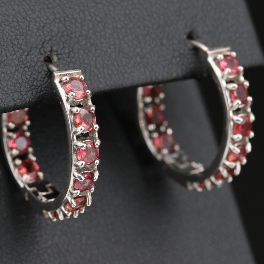 Sterling Silver Rhodolite Garnet Inside Out Earrings