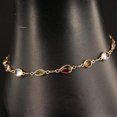 10K Multi-Gemstone Station Bracelet