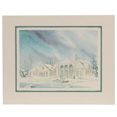 "Wanda Prillaman Watercolor Painting ""Chirstmas 1992"""