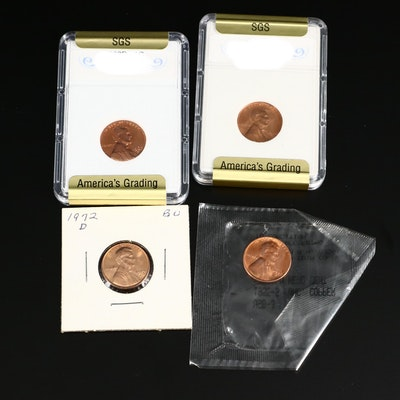 Four Uncirculated Lincoln Cents