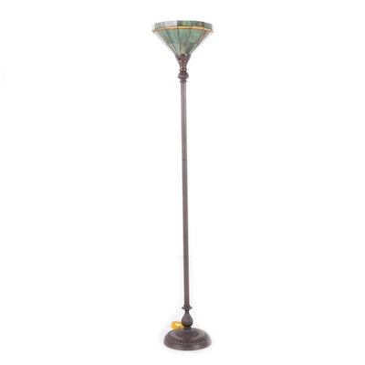 Slag Glass Style Torchiere Floor Lamp, Late 20th Century