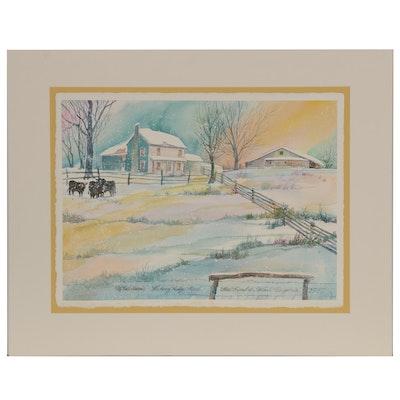 """Wanda Prillaman Christmas Watercolor Painting """"McNeil Farm"""", 1997"""