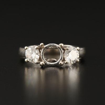14K 1.00 CTW Diamond Semi-Mount Ring