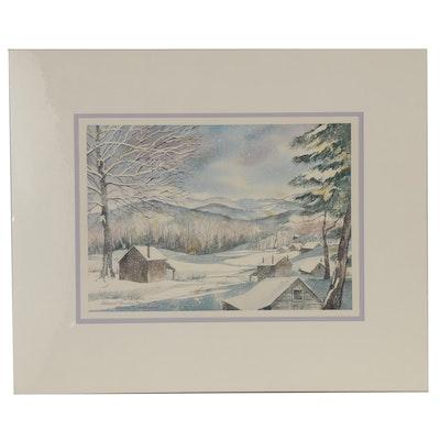 """Wanda Prillaman Christmas Watercolor Painting """"Tobacco Barns, Henry County"""""""