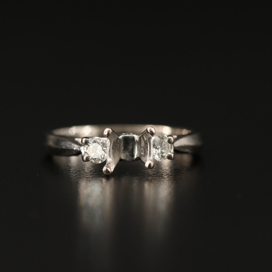 Scott Kay 19K Semi-Mount Ring with Profile Diamonds and Knife Edge Style Shank