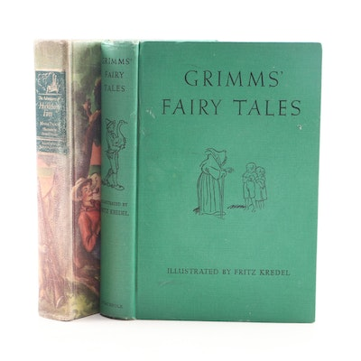 """Grimms' Fairy Tales"" with Illustrated ""Adventures of Huckleberry Finn"" by Twain"