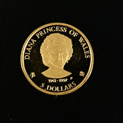 1997 Cook Islands Princess Diana 5-Dollar Proof 1/25th Oz. Gold Coin