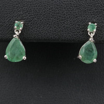Sterling Emerald Dangle Earrings