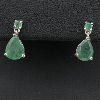 Sterling Emerald Dangle Earrings