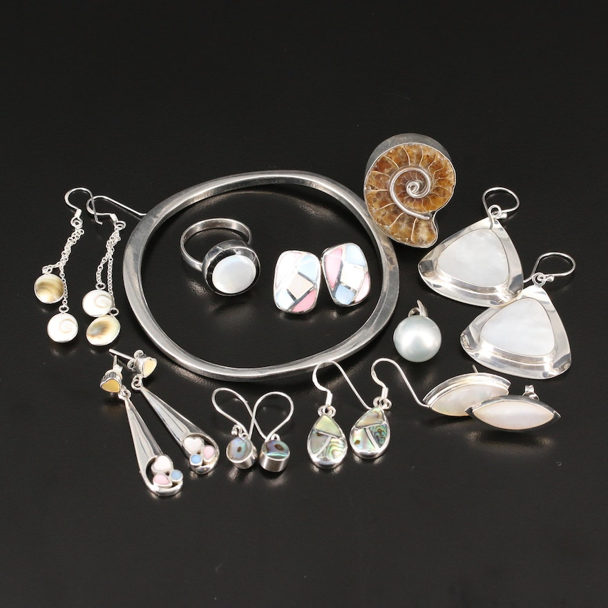 Selection of Sterling Silver Jewelry Including Abalone, Shell and Ammolite