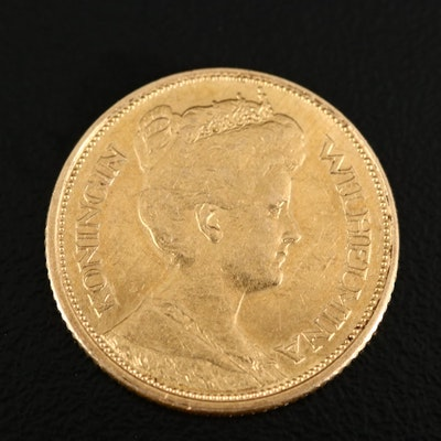 1912 Netherlands 5-Gulden Gold Coin