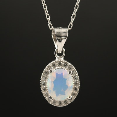 Sterling Silver Opal and Topaz Pendant Necklace