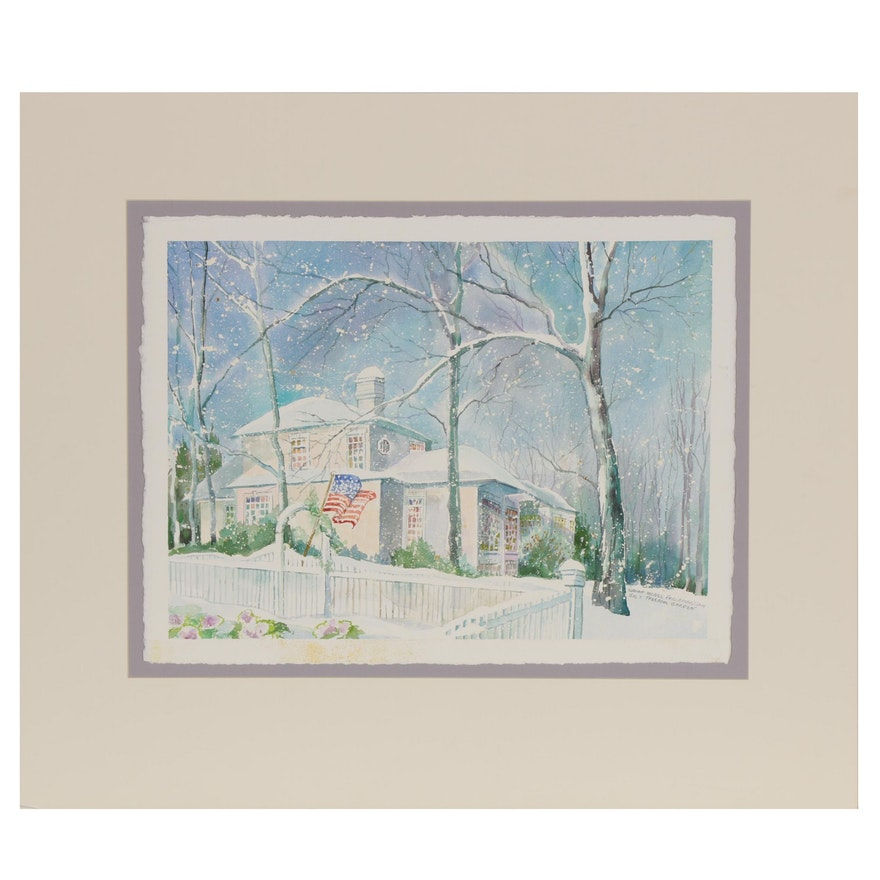 "Wanda Prillaman Christmas Watercolor Painting ""Hal's Freedom Garden"", 2001"