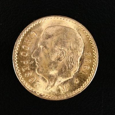 1955 Mexico 5-Pesos Gold Coin