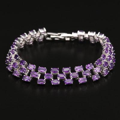 Sterling Silver Amethyst Multi-Row Bracelet