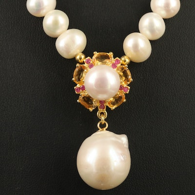Sterling Silver Pearl Necklace with Ruby and Citrine Accents